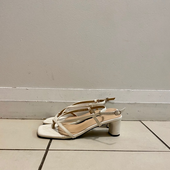 White square-toed strappy sandals